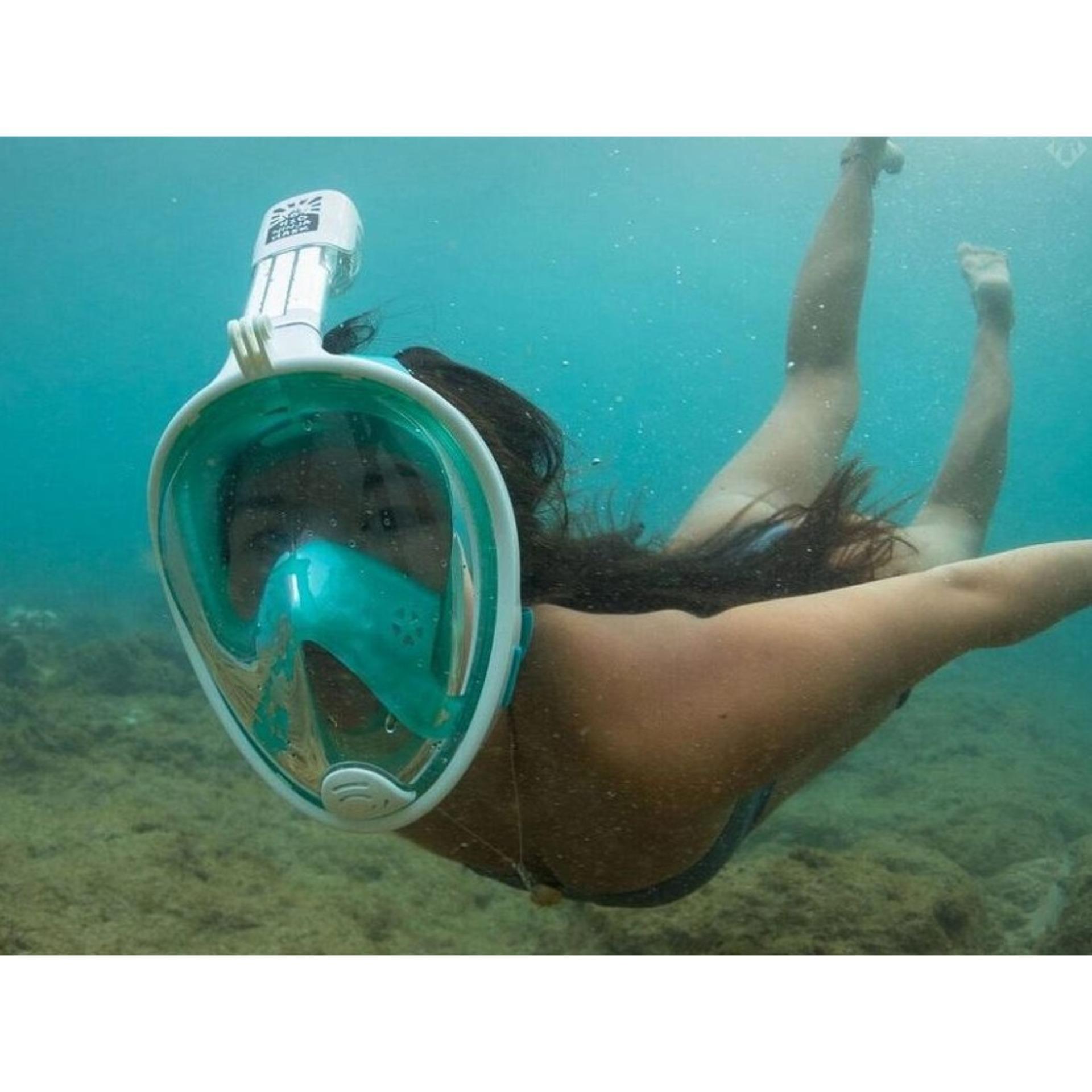 Bình Dưỡng Khí, Mặt Nạ Lặn Full Face, Kính Bơi Lặn Biển, Kính Lặn Liền ống Thở Có Silicon Mềm Ngăn Nước Thấm Vào Bên Trong. Găn Được Camera Hành Trình. Giá Rẻ Bất Ngờ