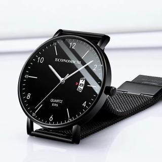 Đồng hồ nam ECONOMICXI dây thép lụa đen chạy lịch ngày cao cấp ECN009 (có hộp) thumbnail