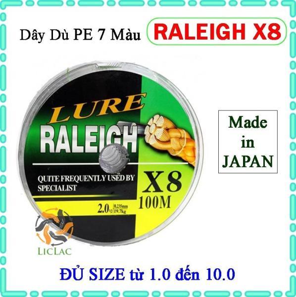 Dây dù câu cá Lure Raleigh X8 dài 100m ( ĐỦ SIZE ) - Dây dù PE 7 màu Raleigh X8 Siêu Bền hàng chất lượng Nhật Bản