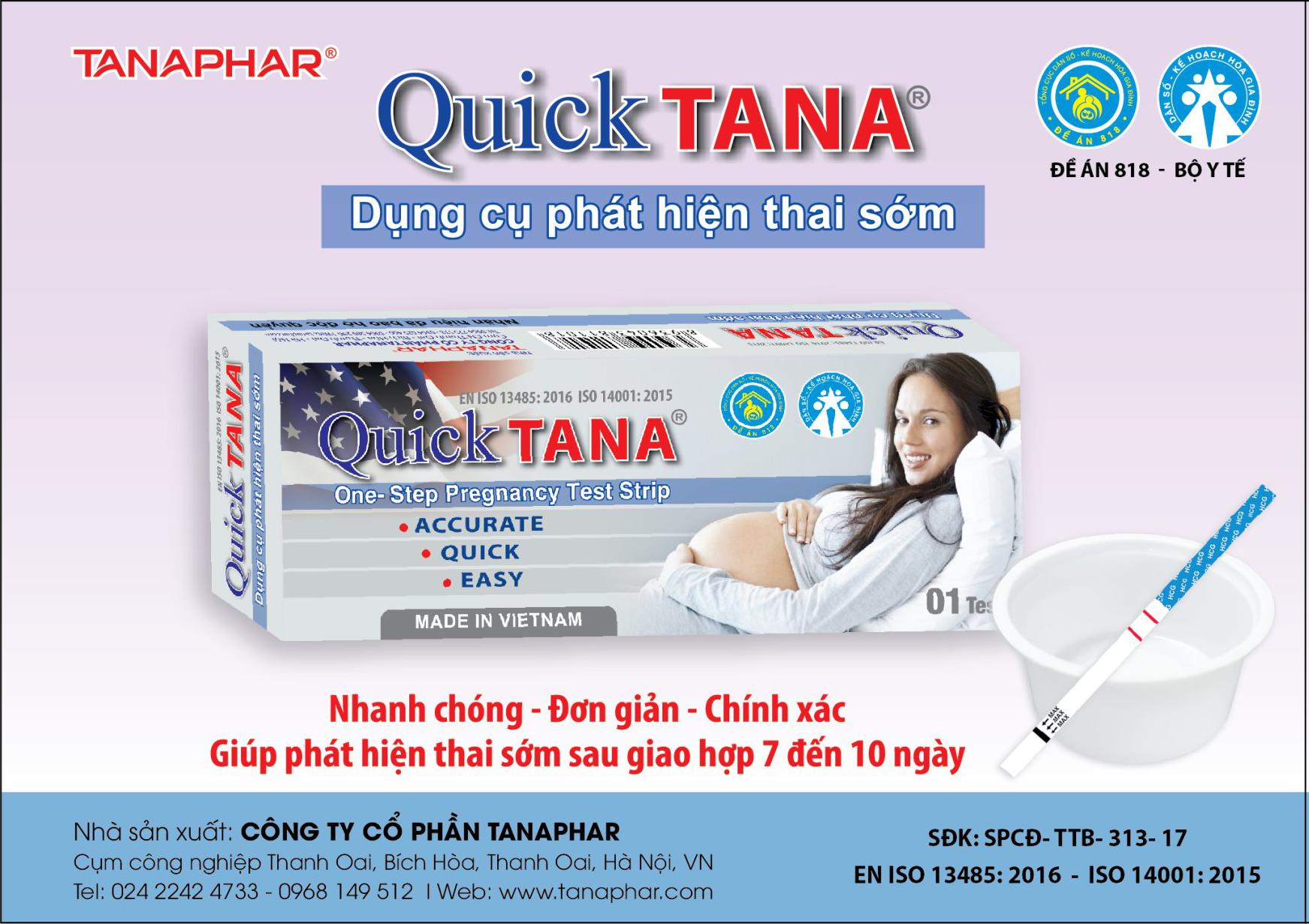Dụng cụ thử thai Quicktana nhập khẩu