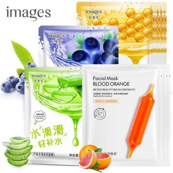 Combo 10 mặt nạ giấy dưỡng ẩm IMAGES mix 4 loại lô hội, việt quất, mật ong, cam đỏ mặt nạ giấy trắng da mặt nạ nội địa Trung