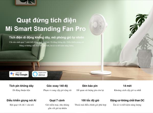 Quạt đứng tích điện Mi Smart Standing Fan Pro bản quốc tế pin 2800mah chạy 18 tiếng