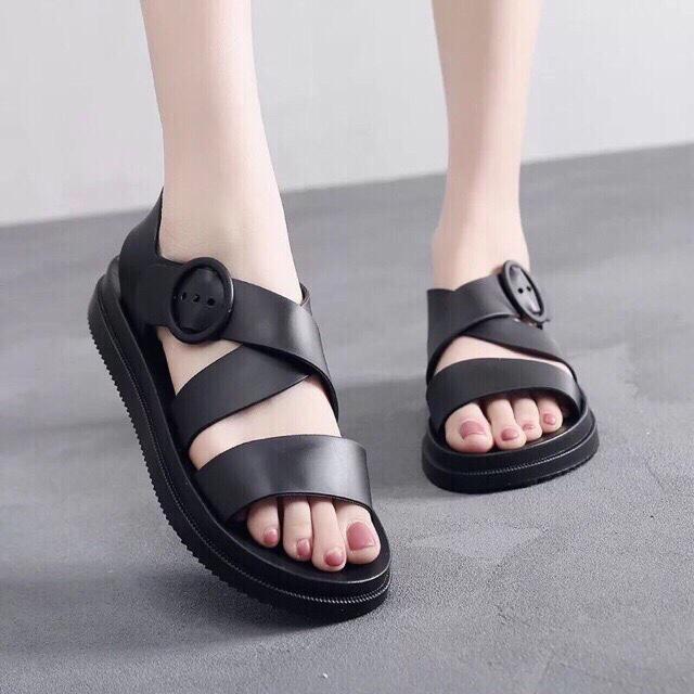 Sandal nữ chun chéo dáng hàn quốc đen cực rẻ