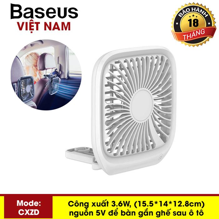 Quạt mini để bàn hoặc gắn ghế sau ô tô Baseus với 3 Tốc Độ làm mát sử dụng nguồn USB dùng cho nhân viên Văn Phòng hoặc trên xe hơi - Phân phối bởi Baseus Global