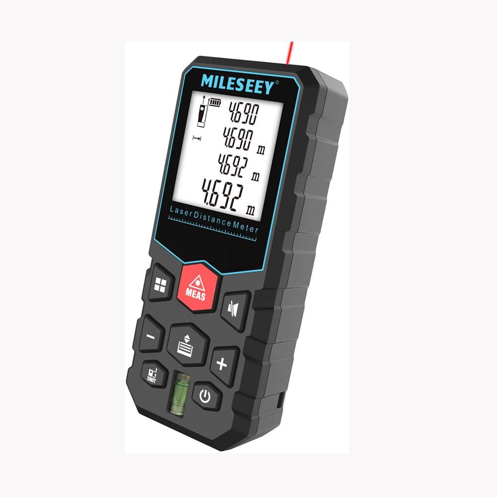 Mileseey Máy đo khoảng cách bằng laser cầm tay, phạm vi đo 40m 60m 80m, dùng để đo đơn, đo liên tục, đo diện tích, đo thể tích, pythagore, ứng dụng trong gia đình, xây dựng, công nghiệp - INTL