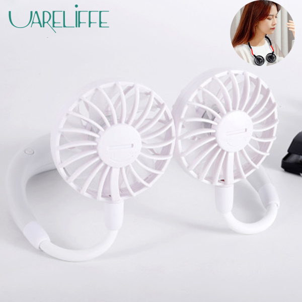 Uareliffe Neck Fan Double Head Fan Portable 3 Speeds Adjustable Mini Lazy Sports Fan Quiet Strong Wind 360° Rotation Fan Summer Air Cooler With Aromatherapy Features