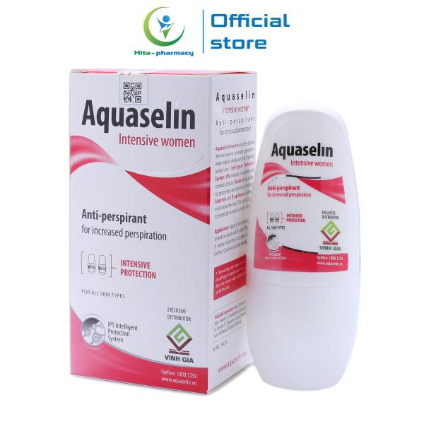 Lăn khử mùi cho nữ mồ hôi nách nhiều Aquaselin intensive women 50ml - Không mùi, không cồn, không ố vàng áo, không thâm nách