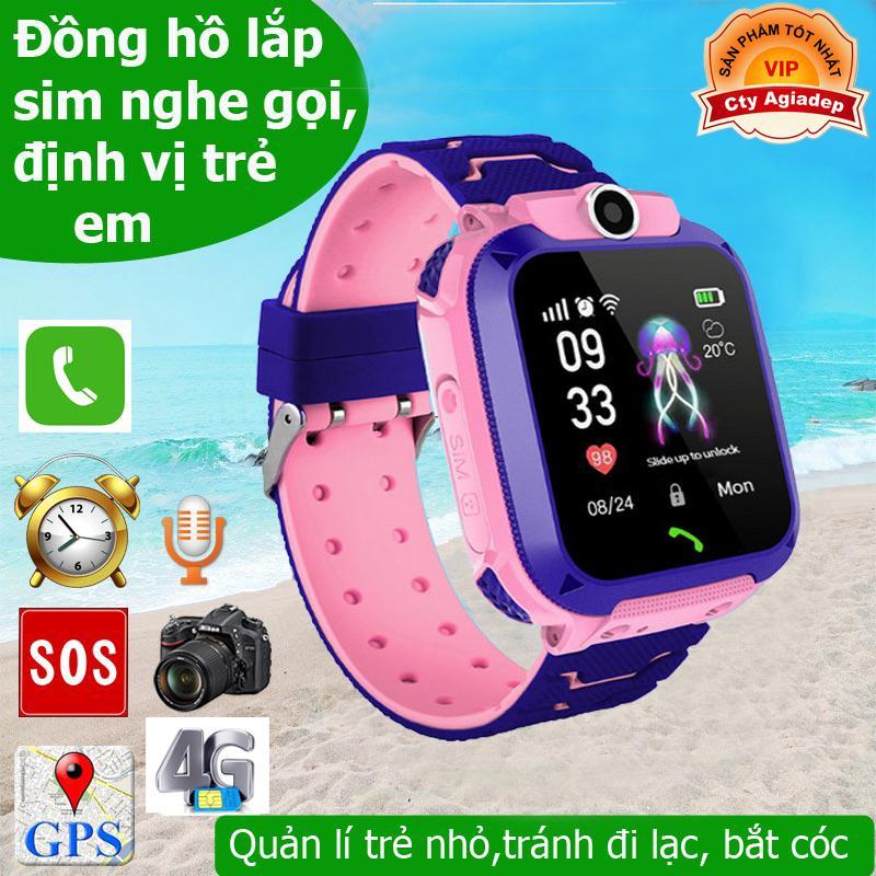 Đồng hồ thông minh theo dõi trẻ em (Loại xịn) có GPS, SOS, Camera, Cảnh báo nghe gọi 2 Chiều chống nước + Sim 4G