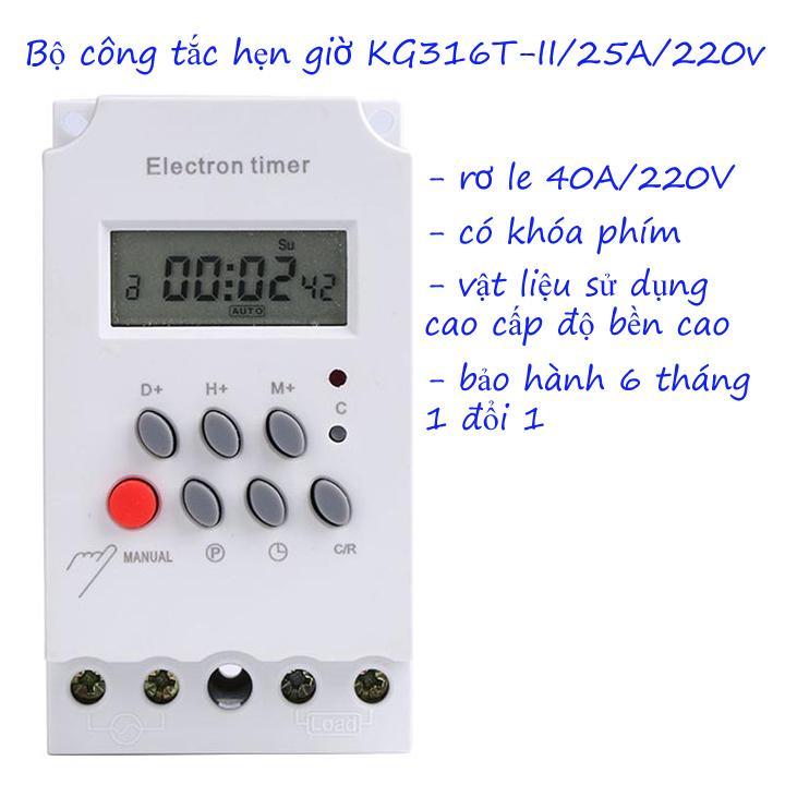 Bộ hẹn giờ tự động tự động electron timer Kg316T-II/25A/220V có khóa phím, công tắc điện hẹn giờ bật tắt điện tự động