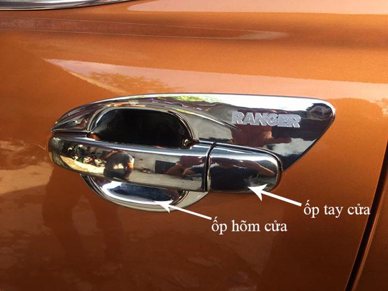 Ốp Tay+ Hõm Cửa Xe Ford Ranger 2016 đến 2020 Mạ Crom Giúp Chống Xước, Làm Đẹp Xe, Có Sẵn Keo Dính 2 Mặt, Lắp Đặt Dễ Dàng Tại Nhà