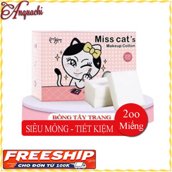 Bông tẩy trang Miss Cats 200 miếng SIÊU MỎNG - SIÊU TIẾT KIỆM dùng để tẩy trang, lau nước hoa hồng, dưỡng lotion - Anquachi - Mỹ phẩm Hàn Quốc