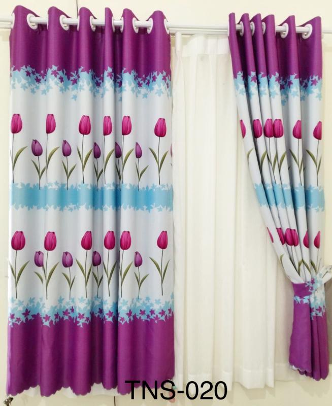 Rèm cửa sổ, cửa phòng ngủ chống nắng giá rẻ, hoạ tiết hoa Tulip TNS-018