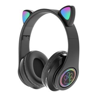 Tai Nghe Bluetooth Mèo Dễ Thương, Tai Nghe Không Dây Bass Êm Ái Bluetooth 5.0 Đèn Gradient Ba Màu Dài Thời Gian Chờ Tương Thích Rộng Có Thể Gập Lại (Được Chọn Màu) thumbnail