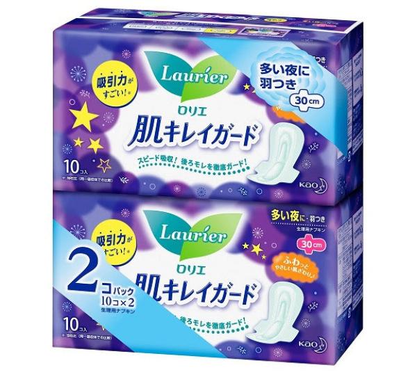 Combo 2 gói Băng vệ sinh Laurier siêu thấm hút dùng ban đêm có cánh, băng vệ sinh siêu mỏng, khử mùi, kháng khuẩn gói 10 miếng x 2- Ashley mart