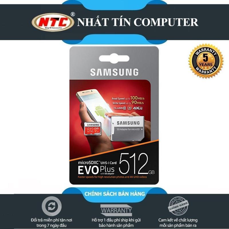 Thẻ nhớ MicroSDXC Samsung Evo Plus 512GB U3 4K 100MB/s - box Anh kèm Adapter (Đỏ) - Nhất Tín Computer