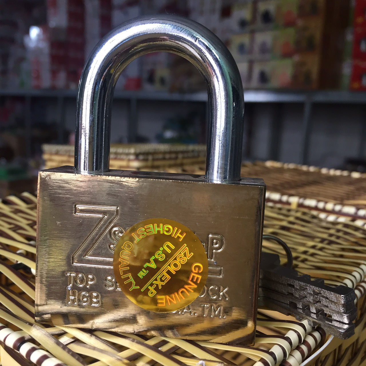 [HCM]DEAL - Ổ khóa  Zsolex loại Lớn 60mm kèm 4 chìa khóa cửa an toàn