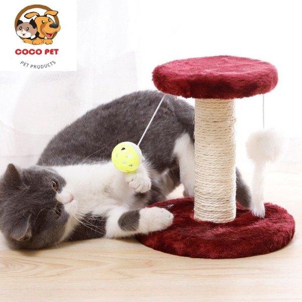 Cây cào móng 2 tầng - trụ cào móng có đồ chơi cho mèo, giúp móng của bé mèo không còn sắc nhọn