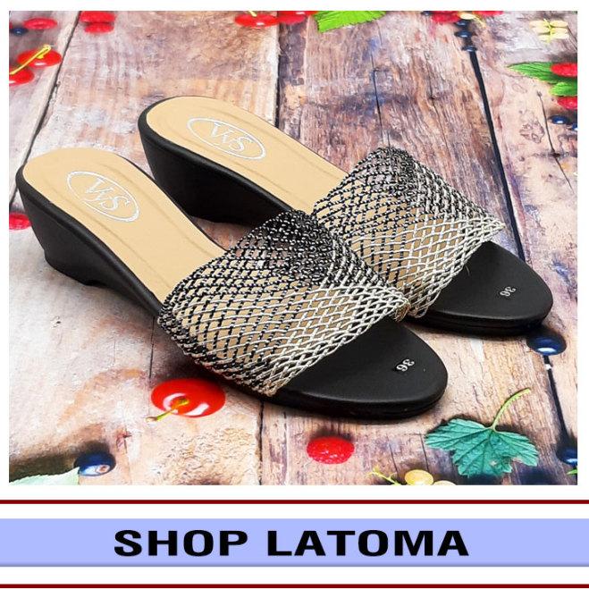 Dép quai ngang, dép nữ, đế đúc cao 3 phân kết quai lưới sang trọng dễ dàng phối đồ đi chơi hay dự tiệc thời trang cao cấp Latoma TA4541 (Đen) giá rẻ