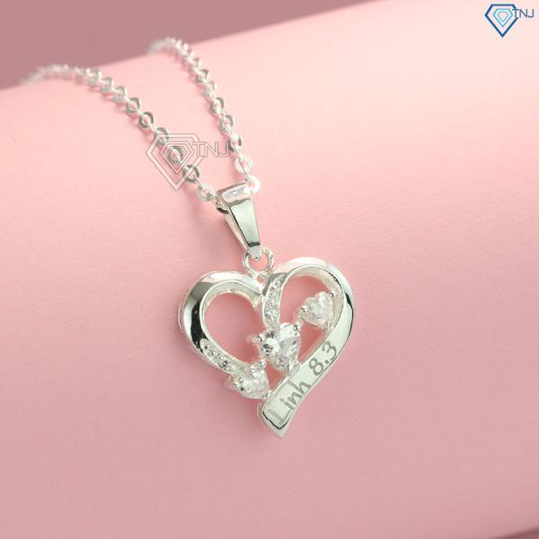 Dây chuyền nữ bạc 925 - Vòng cổ bạc nữ khắc tên hình trái tim DCN0460 - Trang Sức TNJ