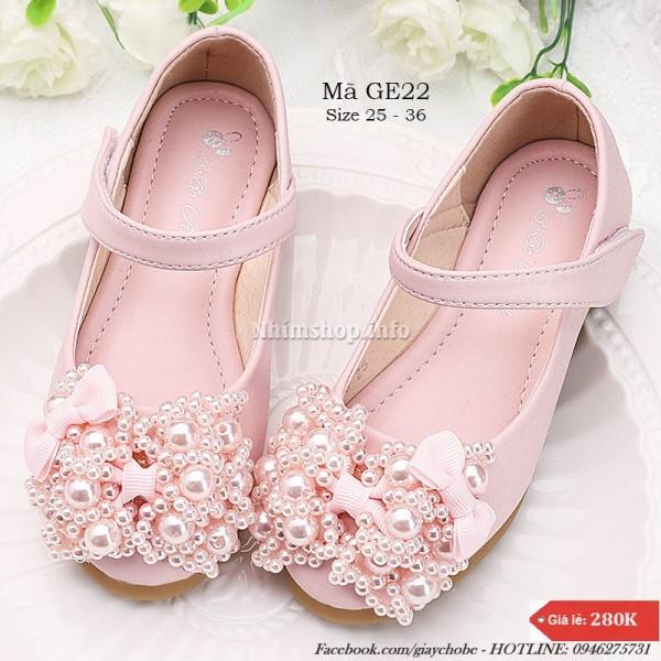 Giá bán Giày búp bê cho bé gái 3 - 12 tuổi gắn nơ công chúa sang chảnh GE22