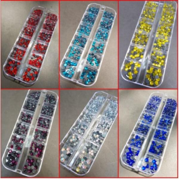 Đá chân keo YHB lưới mix size 1440 viên/khay gắn trang trí móng siêu sáng chắc không bong chân lưới. giá rẻ
