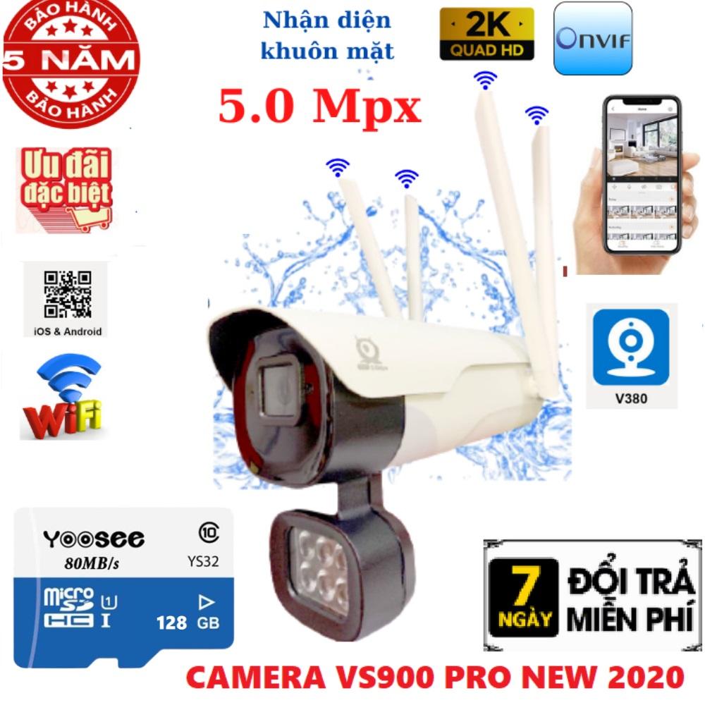 (Tùy chọn thẻ nhớ 128GB Yoosee ), Camera wifi ngoài trời 4 râu 5.0Mpx V380 Pro - V008 , Nhận diện khuôn mặt , cảnh báo chống trộm, chống nước ip65 , camera ip ngoài trời , camera chống nước , camera, camera V380 pro , v380