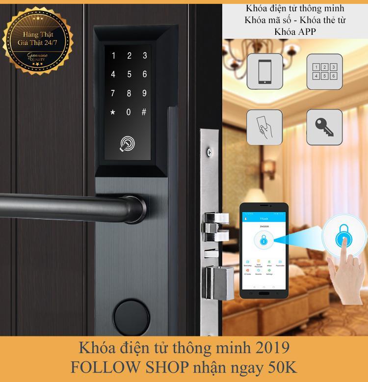[APP iOS/Android tiếng Việt] Khóa cửa điện tử thông minh khóa chống trộm dùng APP- Khóa thẻ từ, Khóa mã số Khóa cơ- Kết nối Bluetooth - Bảo hành 12 tháng - Hỗ trợ lắp đặt và cài đặt - Mở bên phải