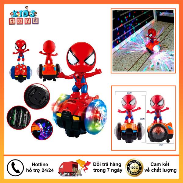Đồ chơi người nhện đi xe thăng bằng xoay 360, phát nhạc, chiếu sáng.