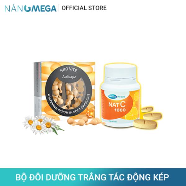 Bộ sản phẩm serum vitamin C NNO VITE hộp 30 viên dưỡng trắng da và viên uống Nat C 1000mg hộp 30 viên bổ sung vitamin C giúp trắng da từ bên trong giá rẻ