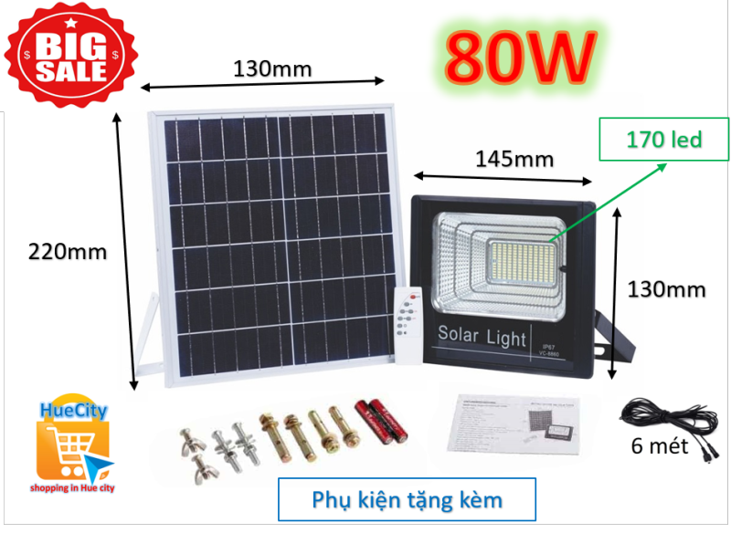 (Siêu rẻ) Đèn led năng lượng mặt trời Solar Light 80W với 170 chip led