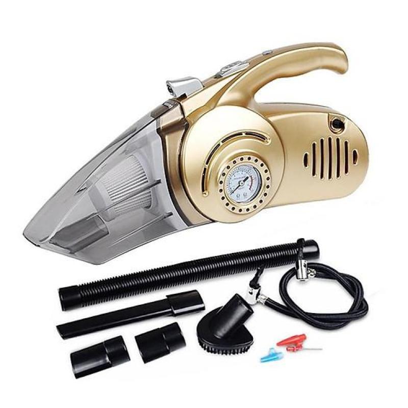 Máy Hút Bụi 4 Trong 1 Cầm Tay Mini Dùng Cho Ô Tô - Hút Bụi, Bơm Lốp, Đo Áp Suất, Đèn Pin