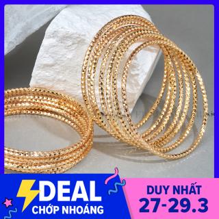 Bộ vòng ximen 7 chiếc kim cương mạ vàng 18K cao cấp JK Silver, có khóa đút ,cam kết không đen, không bay màu, đeo cực sang chảnh, thích hợp đi tiệc,làm quà tặng, trang sức nữ vàng, thumbnail