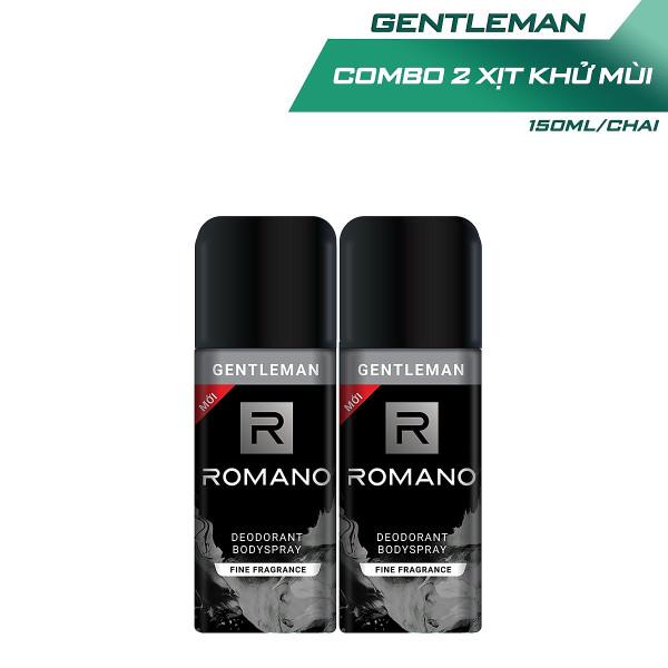 Combo 2 Xịt toàn thân Romano ngăn mồ hôi và mùi cơ thể 150ml x 2 Gentleman cao cấp