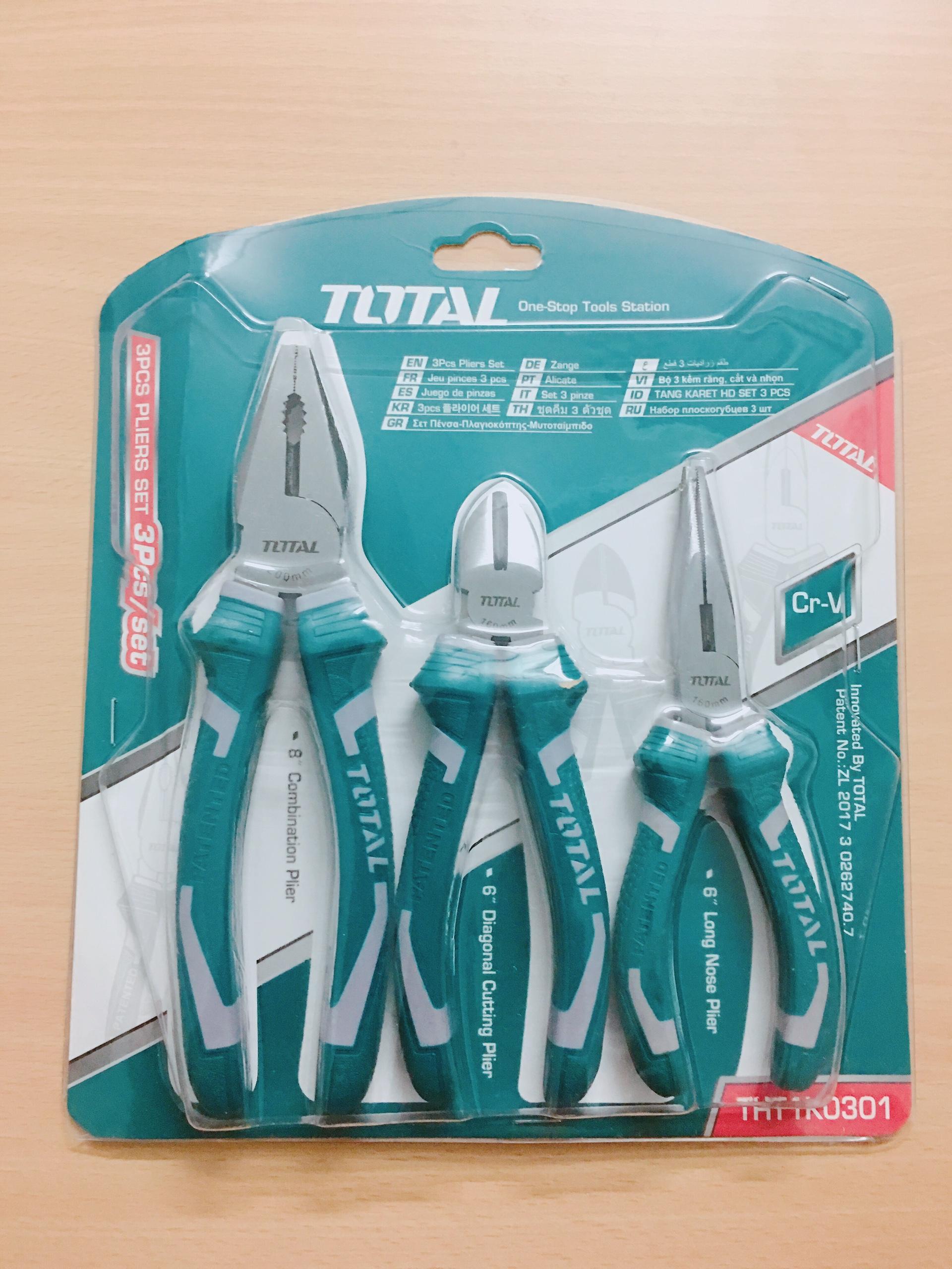 Bộ kìm cắt, kìm răng và kìm mỏ dài 3 chi tiết Total THT1K0301