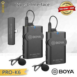 Boya BY-WM4 Pro-K6 - Bộ 2 Micro Cài Áo Không Dây Cổng Type-C Cho Smartphone Android; iPAD Pro, Sóng 2.4G