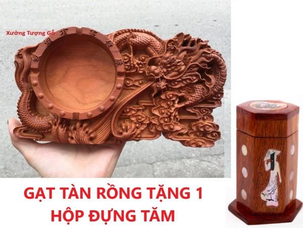 COMBO 1 Gạt Tàn Nguyên Khối Gỗ Hương Trạm Khắc Hình Rồng Tinh Xảo tặng 1 hộp đựng tăm khảm trai mỹ nghệ cao cấp