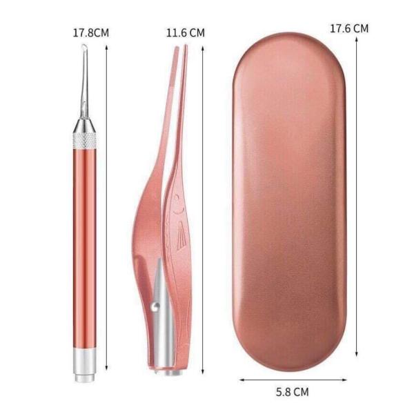 [Tặng Kèm Pin 3A và Pin nhỏ] Bộ dụng cụ ráy tai có đèn kim loại 3 chi tiết - Dùng cho cả người lớn và trẻ em