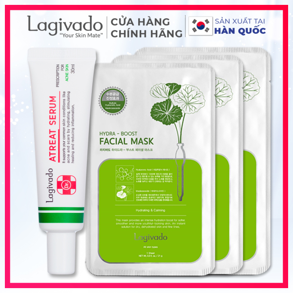 Serum dưỡng da Hàn Quốc Lagivado giảm thâm, mờ sẹo, se khít lỗ chân lông Dr. ATreat Serum 30 ml & 03 mặt nạ dưỡng da