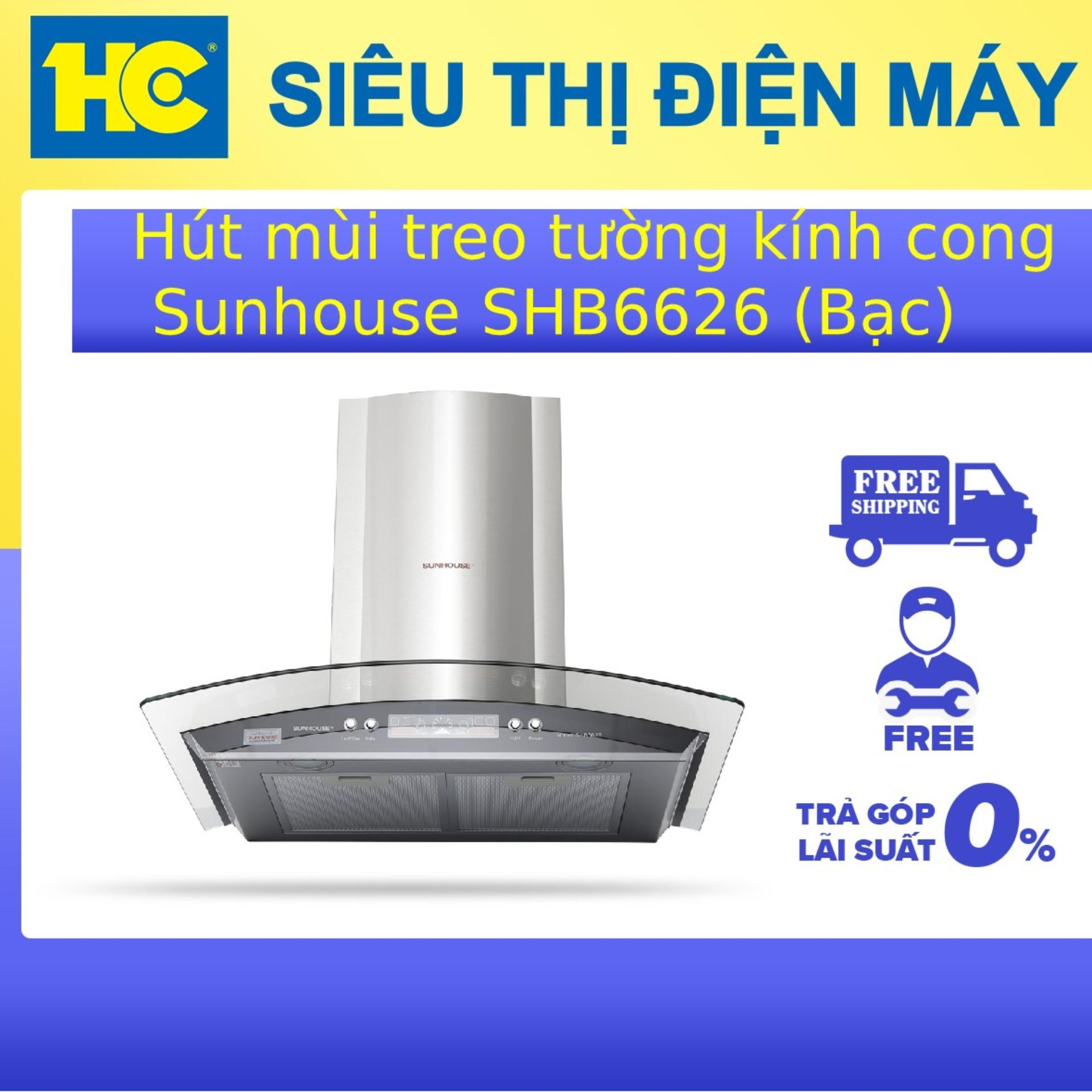 Hút Mùi Treo Tường Kính Cong Sunhouse SHB6626 (Bạc) Giá Quá Ưu Đãi