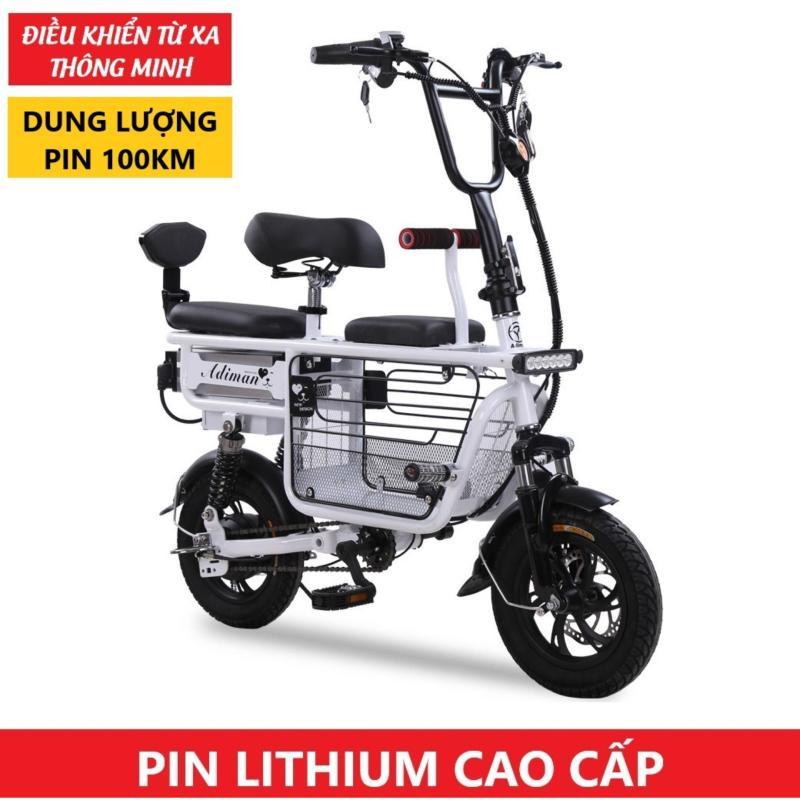 Mua Xe Điện Mini Gấp Gọn ADIMAN | Xe Đạp Điện Giỏ To | 3 Ghế Ngồi | Pin Lithium 48v-8A