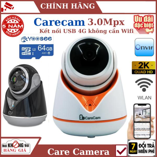 ( Tặng kèm thẻ 64G yoosee ) Camera Wifi carecam xoay 360 ,kết nối USB 4G , ống kính 3.0 , xoay 360 độ , xem trực tiệp qua hình ảnh , camera ip , camera an ninh , camera giá rẻ , camera ip ngoai troi