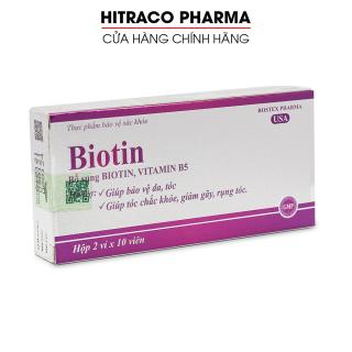 Viên uống bổ sung Biotin, Vitamin B5 giúp tóc chắc khỏe, giảm gãy rụng tóc, bảo vệ da tóc - Hộp 20 viên thumbnail
