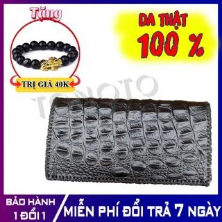 Bóp Ví Nam Da Bò 100% Vân Cá Sấu Dáng Cầm Tay - Ví nam,ví da nam, bóp nam, ví da bò - Bảo hành 12 tháng - Tonoto Leather thumbnail