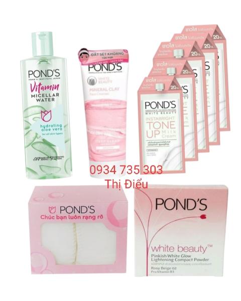Bộ 9 sản phẩm Ponds chăm sóc da: sữa rửa mặt pond + nước tẩy trang pond + kem pond + phấn pond giá rẻ