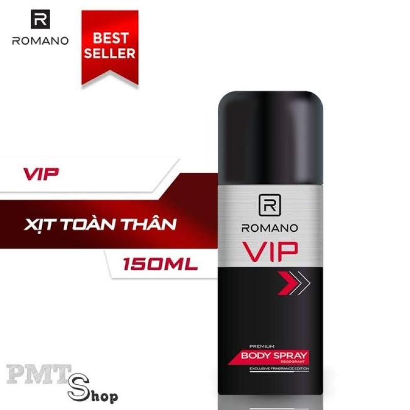 Xịt nước hoa toàn thân nam Romano VIP 150ml khử mùi, ngăn mồ hôi cao cấp