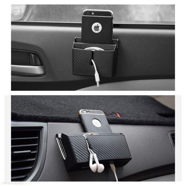 Hộp mini 2 ngăn vân carbon dán taplo, cánh cửa cho ô tô, xe hơi đa năng đựng nhiều vật dụng thẻ, điện thoại