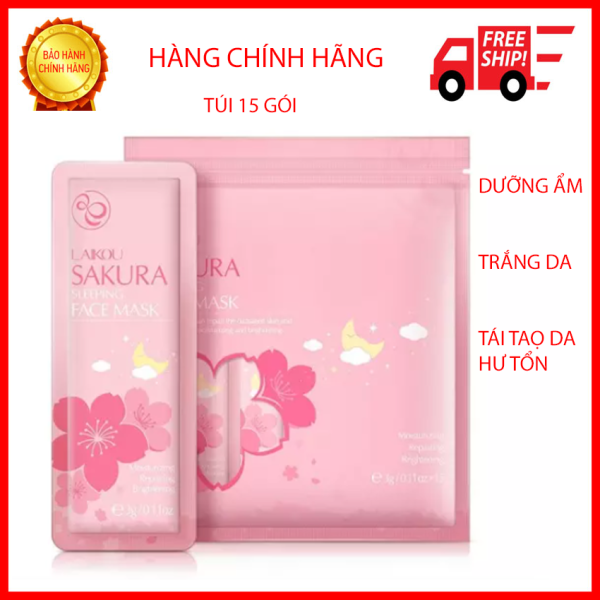 [15 Gói]Mặt Nạ Ngủ Hoa Anh Đào Sakura Sleeping Face Mask Laikou-Làm mờ thâm nám Giúp cải thiện làn da khô, xỉn màu