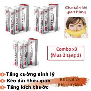 Combo x3 (mua 2 tặng 1) Viên sủi tăng cường sinh lý nam tăng kích thước ROCKMAN (Hộp 20 viên) - hàng chính hãng thumbnail