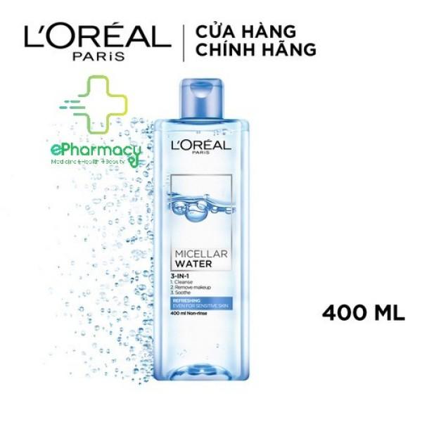 Nước tẩy trang LOreal tươi mát cho da nhạy cảm - LOreal Paris 3-in-1 Micellar Water XANH NHẠT 400ml