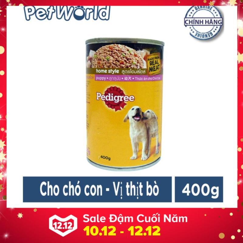 Thức Ăn cho chó con - pedigree puppy vị thịt bò - Dạng lon 400g